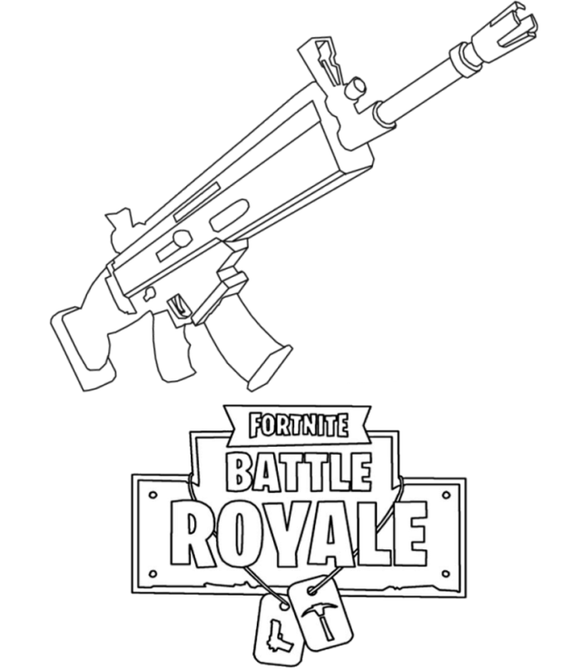 Fortnite Guns (Weapon) Coloring Pages 1