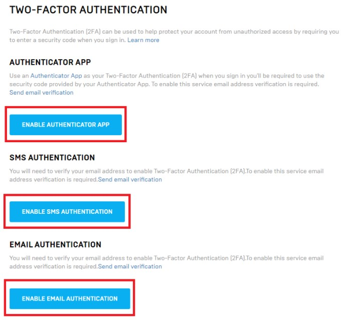 Enable Authenticator App, Enable SMS Authentication and Enable Email Authentication.