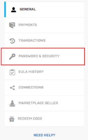 click  PASSWORD AND SECURITY